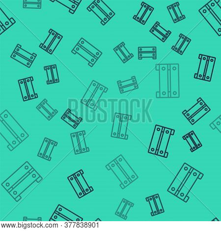 Black Line Wooden Box Icon Isolated Seamless Pattern On Green Background. Grocery Basket, Storehouse