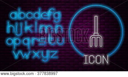 Glowing Neon Line Garden Pitchfork Icon Isolated On Brick Wall Background. Garden Fork Sign. Tool Fo