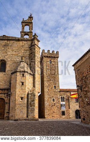 Caceres, Spain - November 09, 2019: Tower Of The Las Ciguenas Palace In Caceres, Extremadura Region