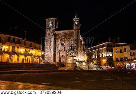 Trujillo, Spain - November 12, 2019: San Martin Church At The Plaza Mayor At Night, Main Square Of T