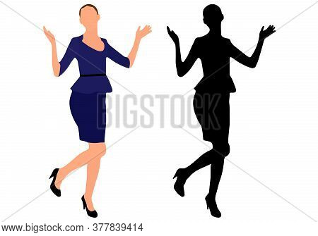 Businesswoman Spread Hands In Different Directions And Raised Leg In Joy, Success. Black Silhouette.