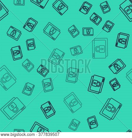 Black Line Secure Your Site With Https, Ssl Icon Isolated Seamless Pattern On Green Background. Inte