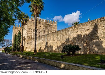 Jerez De La Frontera, Spain - Nov 15, 2019: Moorish Alcazar In Jerez De La Frontera, The Ancient Sto
