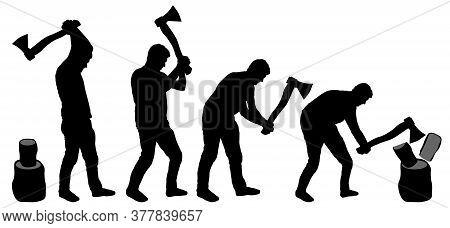 Man Is Chopping Wood. Man With Ax In His Hands Cuts Tree. Silhouette Vector