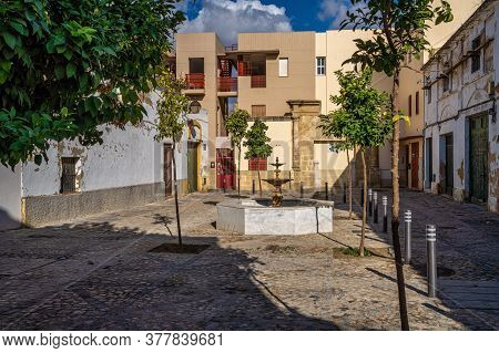 Jerez De La Frontera, Spain - Nov 15, 2019: Plaza Del Mirabal, Little Square In Jerez De La Frontera