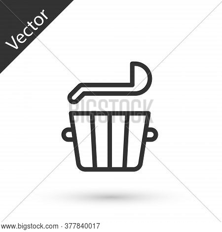 Grey Line Sauna Bucket And Ladle Icon Isolated On White Background. Vector