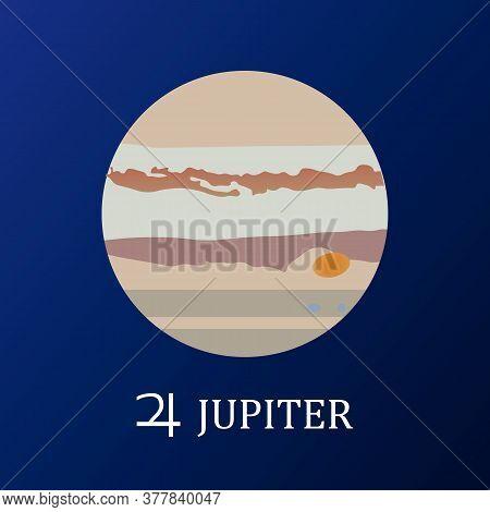 Planet Jupiter In Flat Style. Vector Illustration