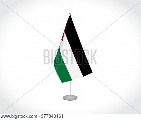 National Fabric Flag Of Palestine Isolated On White Background.