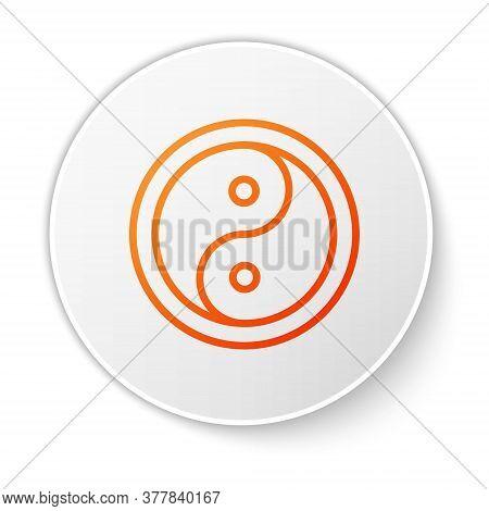 Orange Line Yin Yang Symbol Of Harmony And Balance Icon Isolated On White Background. White Circle B