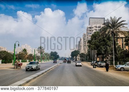 Cairo, Egypt - Jan 31, 2020:  Road in downtown of Central Cairo, Egypt.