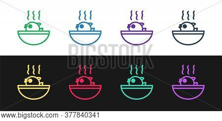 Set Line Puffer Fish Soup Icon Isolated On Black And White Background. Fugu Fish Japanese Puffer Fis