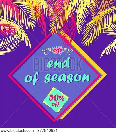 Purple fashion discount for summer sale with palm branches, offer label, frangipani flowers and end of season lettering