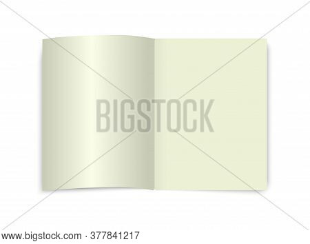 Open Book Mockup. Page Top View. Blank School Dictionary Ecnyclopedia Notebook. White Isolated Diary