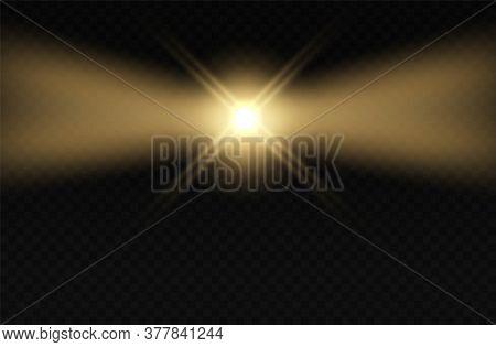 Lighthouse. Light Blink Effect. Lamp Fog Night Beams.