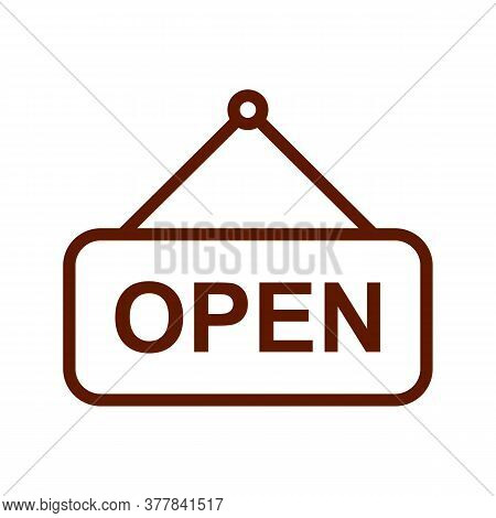 Open Sign Vector Sketch Icon Isolated On Background. Hand Drawn Open Sign Icon. Open Sign Sketch Ico