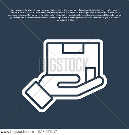 Blue Line Delivery Insurance Icon Isolated On Blue Background. Insured Cardboard Boxes Beyond The Sh