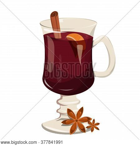 Mulled Wine In Glass. Hot Tasty Drink