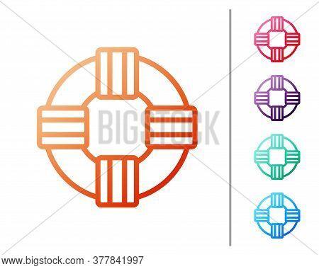 Red Line Lifebuoy Icon Isolated On White Background. Lifebelt Symbol. Set Color Icons. Vector.