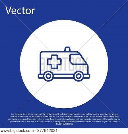 Blue Line Ambulance And Emergency Car Icon Isolated On Blue Background. Ambulance Vehicle Medical Ev