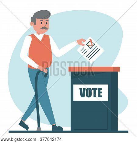 Senoir Man Voting For A President Vector Isolated
