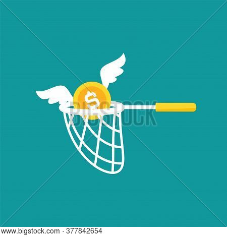 Butterfly Net And Caught Golden Dollar Coin With Wings. Catch, Hunt, Chase Money Symbol.