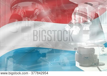 Microscope On Luxembourg Flag - Science Development Conceptual Background. Research In Biotechnology