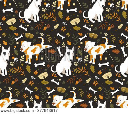 Seamless Cartoon Dogs Pattern With Bones, Footprint And Leaves. Autumn Vector Illustration With Funn