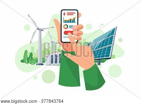 Hands Holding Mobile Cell Phone With Electricity Energy Usage Smartphone Monitoring App. Sustainable