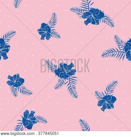 Blue Seamless Vector Pattern With Hibiscus, Leaves On Pink And White Polka Dots Background For Fabri