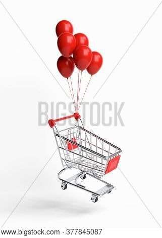 Flying Shopping Cart With Balloons On A White Background. Shopping Trolley. Grocery Push Cart. Minim