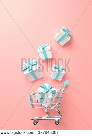 Flying Shopping Cart With Gift On A Pink Background. Shopping Trolley. Grocery Push Cart. Minimalist