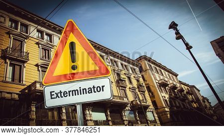 Street Sign The Direction Way To Exterminator