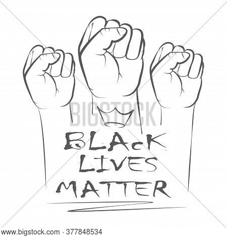 Three Hands Symbol For Anti Racism Protest In Usa To Stop Violence To Black People. Fight For Human