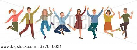 Jumping People Group With Raised Hands And Smile. Joyful Laughing Men And Women. Cartoon Characters