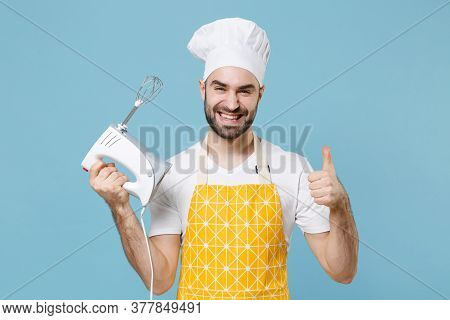 Smiling Young Bearded Male Chef Or Cook Baker Man In Apron White T-shirt Toque Chefs Hat Isolated On