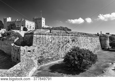 The Walls And Turrets Of The Medieval Castle Of The Joannite Order In The City Of Rhodes, Black And