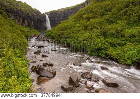 View Of The Svartifoss Waterfall, Narrow Waterfall On A Geometric Rock In Skaftafell In Vatnajokull