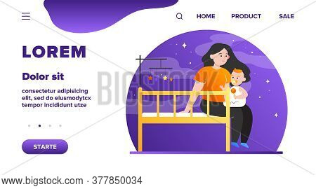 New Mom Holding And Soothing Baby. Crib, Toddler, Playing With Child Flat Vector Illustration. Child
