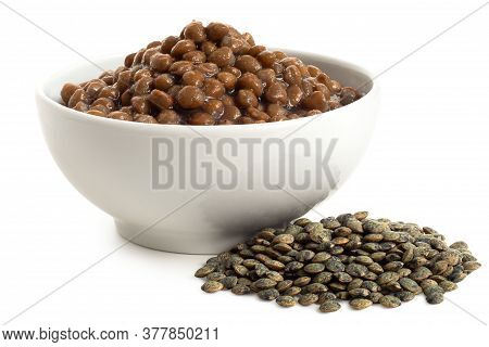 Cooked French Green Puy Lentils In White Ceramic Bowl Next To Dry Lentils Isolated On White. Low Ang
