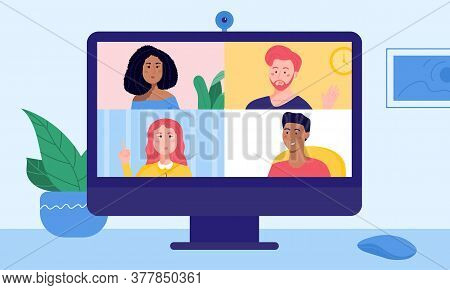 Four Friends On Desktop Screen Chatting Via Video Call Conference. Young Man And Women Having Conver