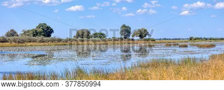 Typical Beautiful African Landscape, Wild River In National Park Bwabwata On Caprivi Strip With Nice