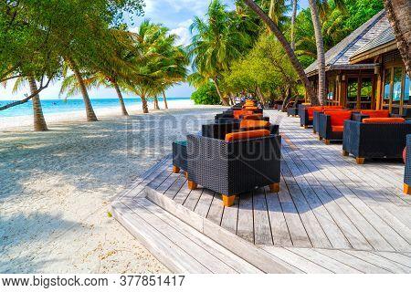 Outdoors Beach Restaurant. Tropical Resort Coast, Relaxing Summer Shore. Luxury Resort Restaurant, C