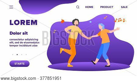 Happy Old People Dancing Isolated Flat Vector Illustration. Cartoon Senior Grandfathers And Grandmot