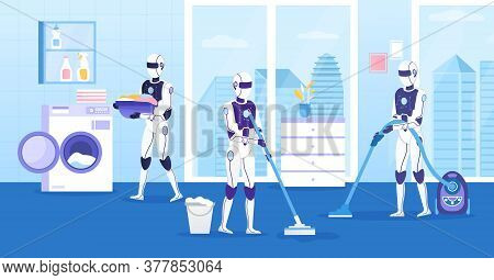 A Group Of Robots Quickly And Efficiently Tidy Up The House. Modern Bathroom With Panoramic Window.