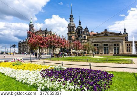 Dresden Cathedral, Castle And King Johann Statue On Theaterplatz Square, Dresden, Germany