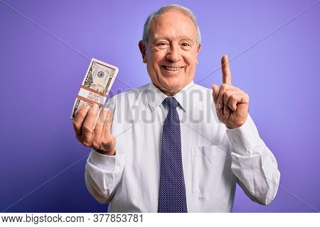 Senior grey haired man holding bunch of fifty dollars banknotes over purple background surprised with an idea or question pointing finger with happy face, number one