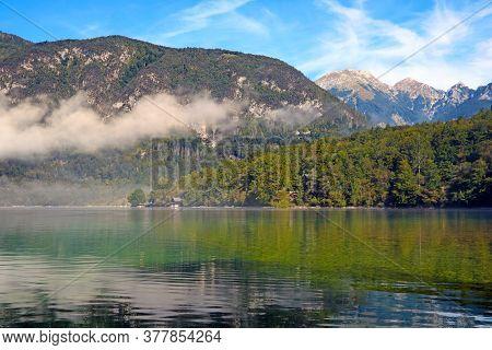 Beautiful Slovenian Landscape Bohinj Lake, With Turquoise Water. Triglav National Park, Julian Alps,