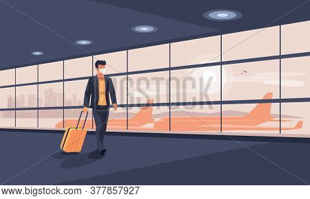 Lonely Business Man Traveler Wearing Face Mask With Luggage Walking At Empty Airport Gate Terminal L