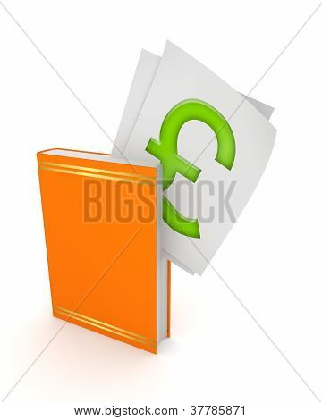 Pound sterling sign in orange book.