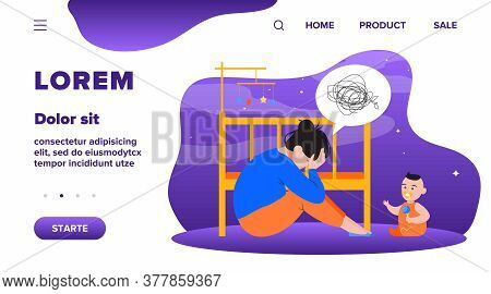 Depressed Woman With Newborn Flat Vector Illustration. Sleepy Tired Young Mom Sitting Near Bed And B